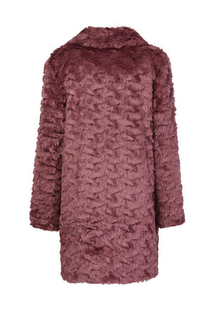 Fur & Square Coat in Rose Wine