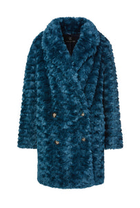 Fur & Square Coat in Teal