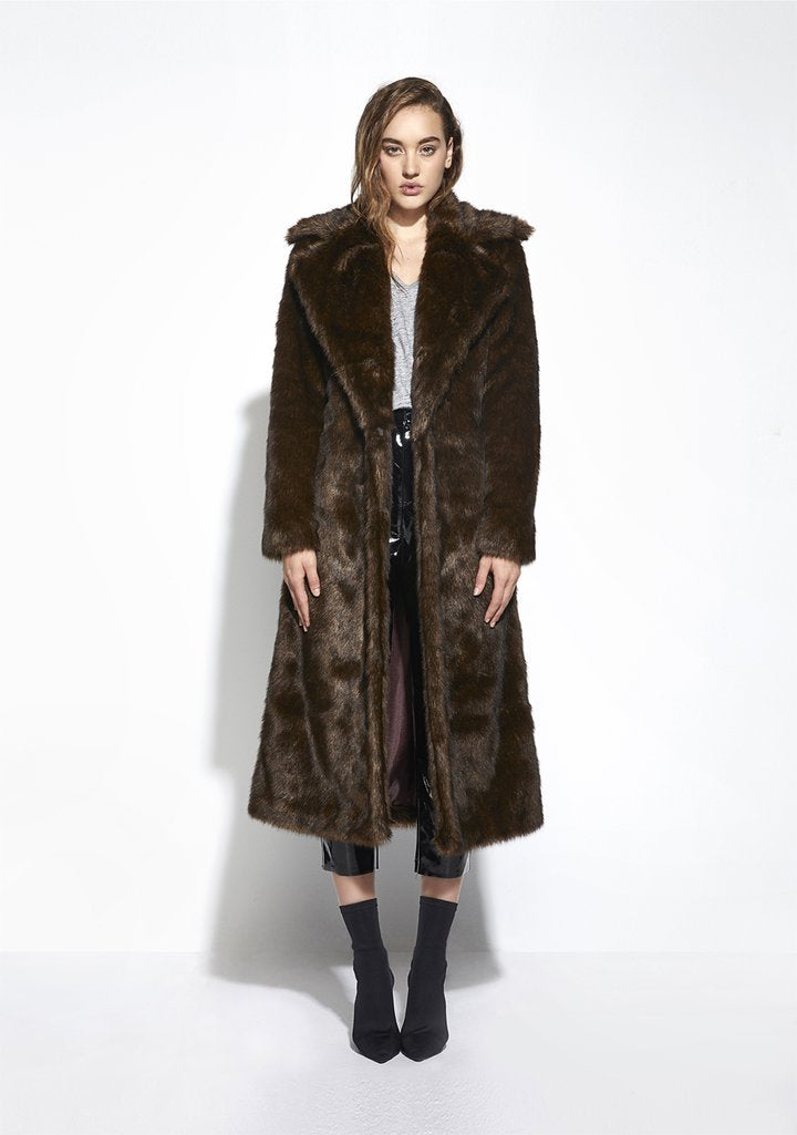 Long Mac Coat in Chestnut Brown