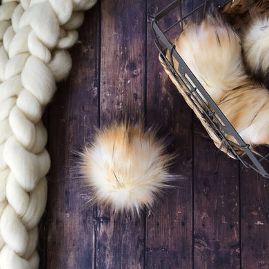 Light Cognac Fox Handmade Faux Fur Vegan Pom Pom