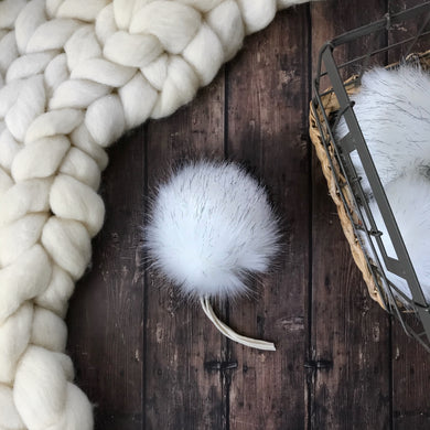 Midnight Snowfall Handmade Faux Fur Vegan Pom Pom