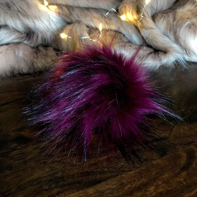 Blackberry Bordeaux Handmade Faux Fur Vegan Pom Pom