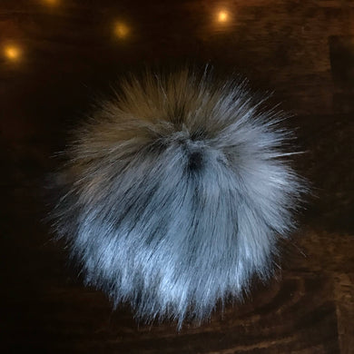 Gray Timber Wolf Handmade Faux Fur Vegan Pom Pom