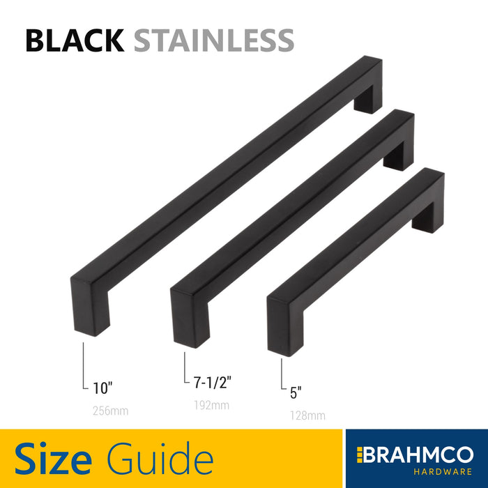 "5"" Flat Black Square Bar Stainless Cabinet Pull Handles"