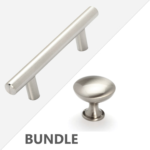 Stainless Steel T Bar Pull Handles and Round Knobs Bundle