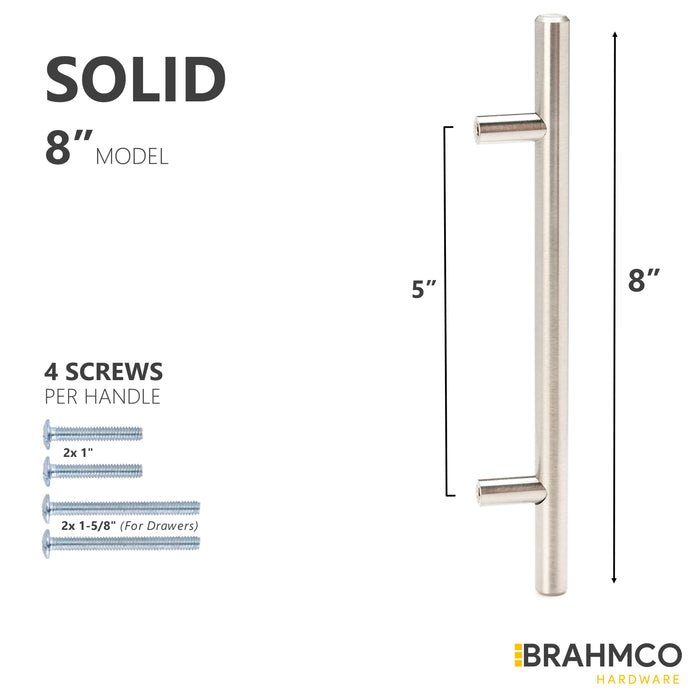 SOLID Brushed Nickel T Bar Euro Style Cabinet Pulls