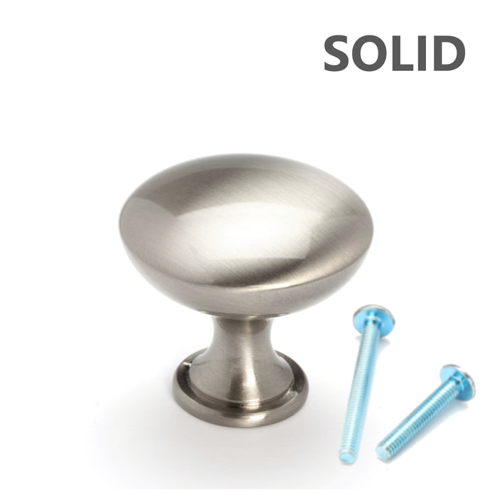 Brushed Nickel Round Mushroom Style Cabinet Knobs
