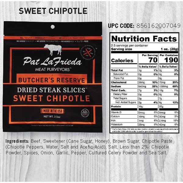 Pat LaFrieda Dried Beef Steak Slices, Sweet Chipotle, Pack of 4, 2.5 oz. bags - PAT LAFRIEDA HOME DELIVERY