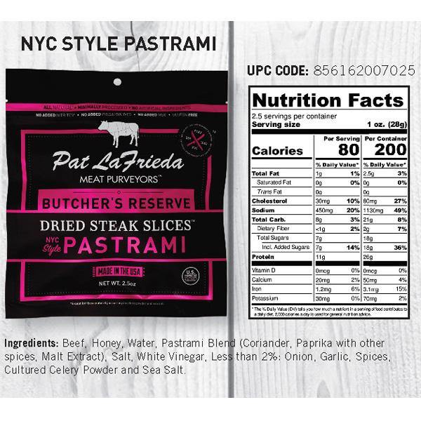 Pat LaFrieda Dried Beef Steak Slices, Pastrami, Pack of 4, 2.5 oz. bags - PAT LAFRIEDA HOME DELIVERY