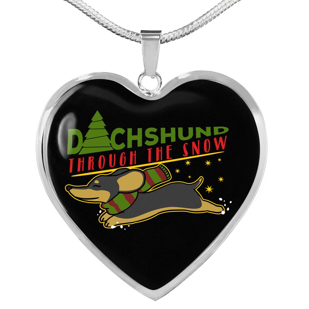 Dachshunds Through The Snow Necklace