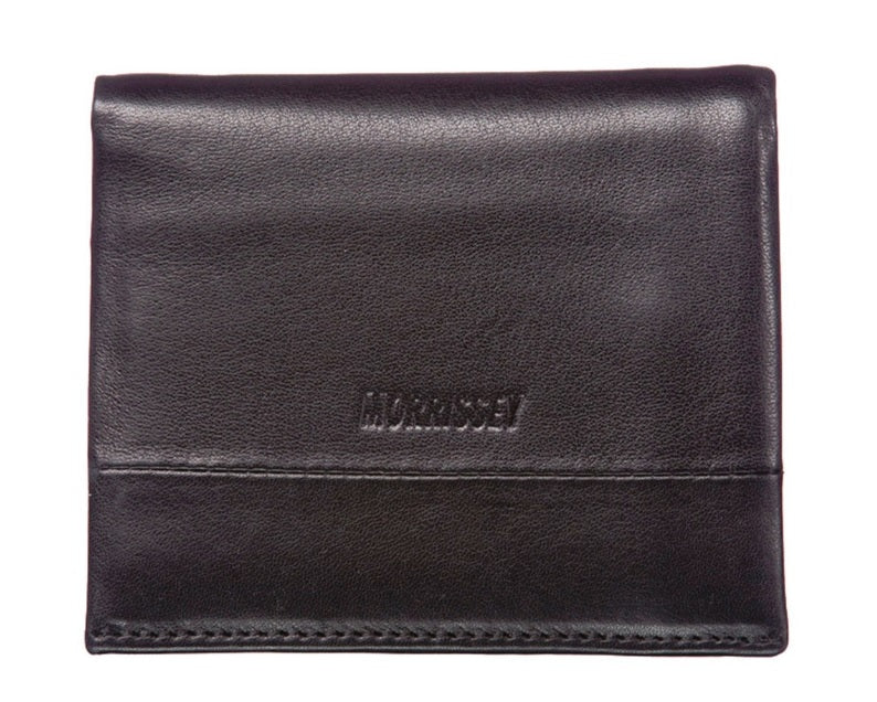 Morrissey Black Italian Leather Tri-Fold Mens Wallet (MO10347)
