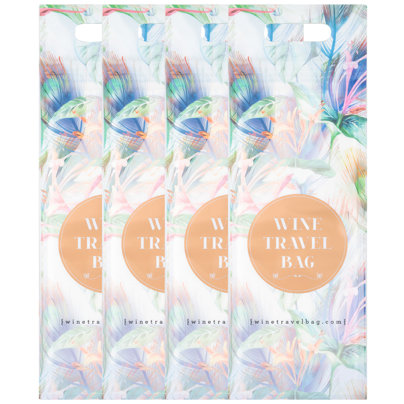 Wine Travel Bag - Floral Art Design  - Pack of 4