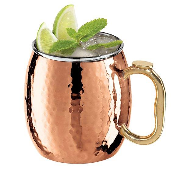 Hammered Copper Plated Stainless Steel 530ml Moscow Mule Mug Drum