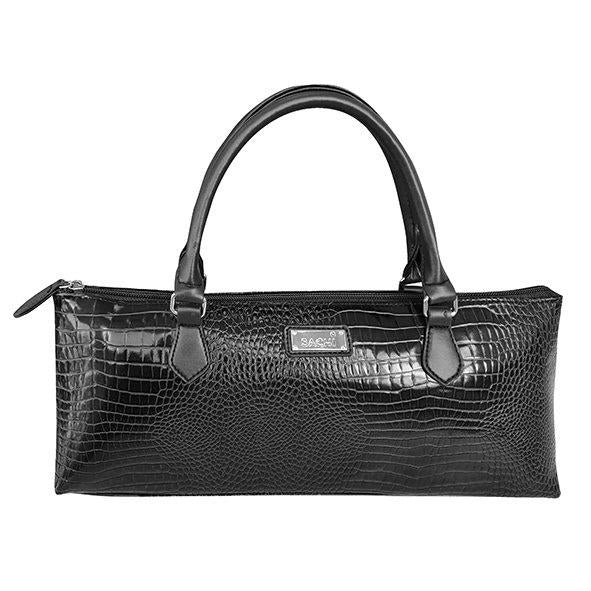 Sachi Insulated Wine Purse Crocodile Black