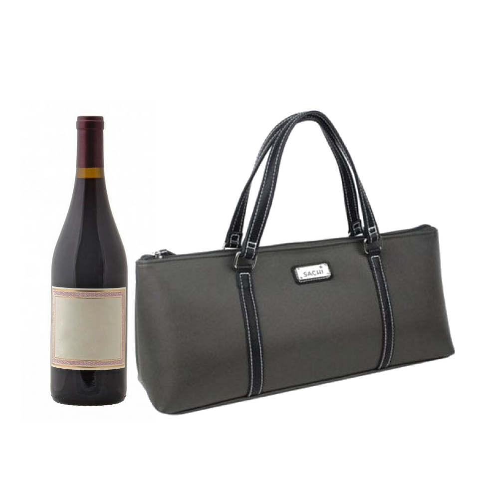 Sachi Insulated Wine Bottle Purse Charcoal - perfect for BYO