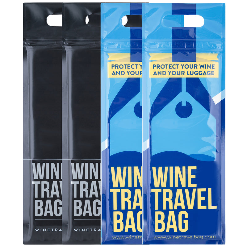 Wine Travel Bag - Black & Blue Mix Pack  - Pack of 4