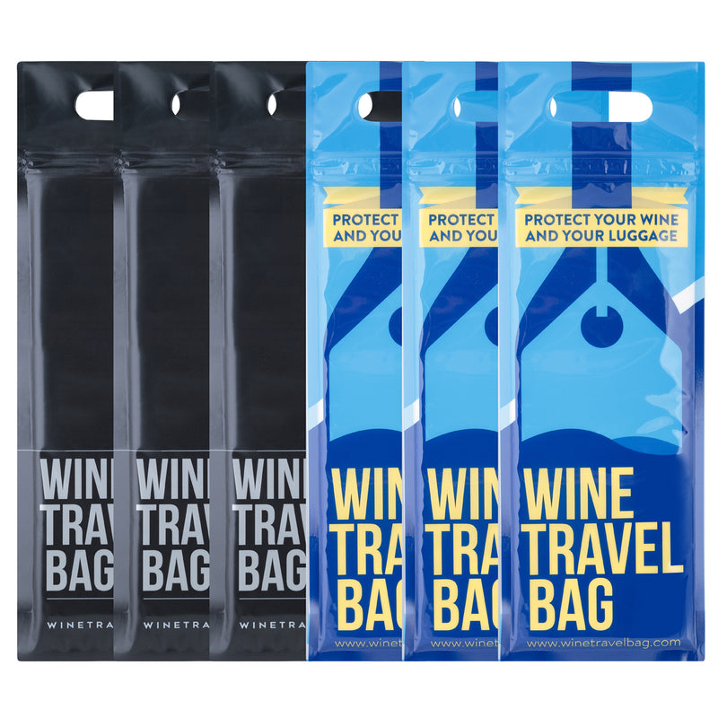 Wine Travel Bag - Black & Blue Mix Pack  - Pack of 6