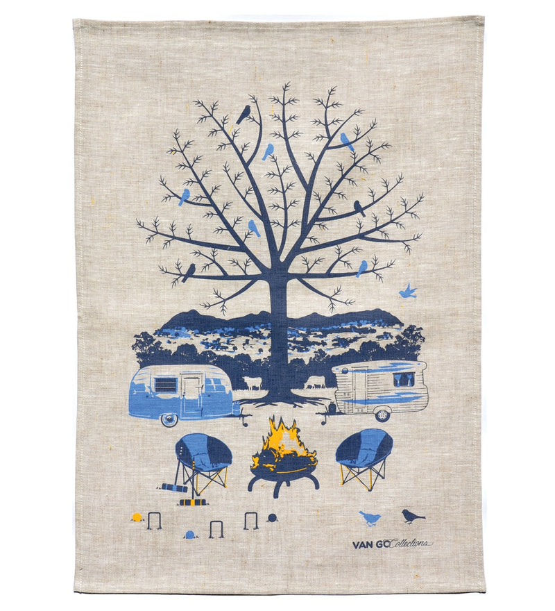 Caravan and Camping Tea Towel (Blue)  by Van Go Collections