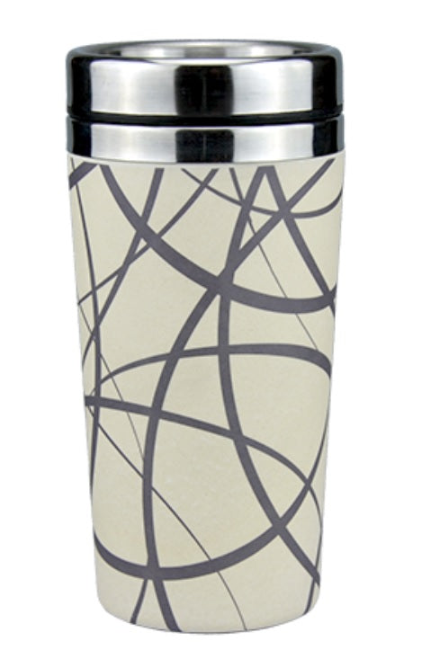 Reusable Insulated Bamboo Coffee Cups 450ml - Circles