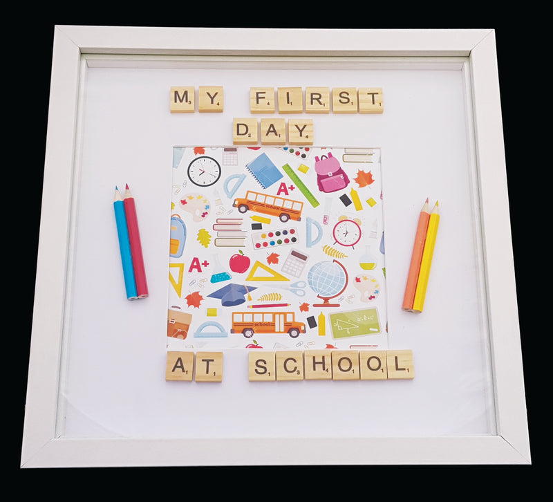 Deco Scrabble Picture Frame  - My First Day at School