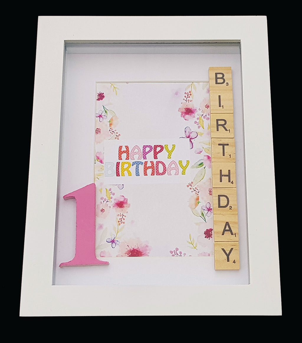 Scrabble Shadow Box Frames | 1st Birthday | Pink