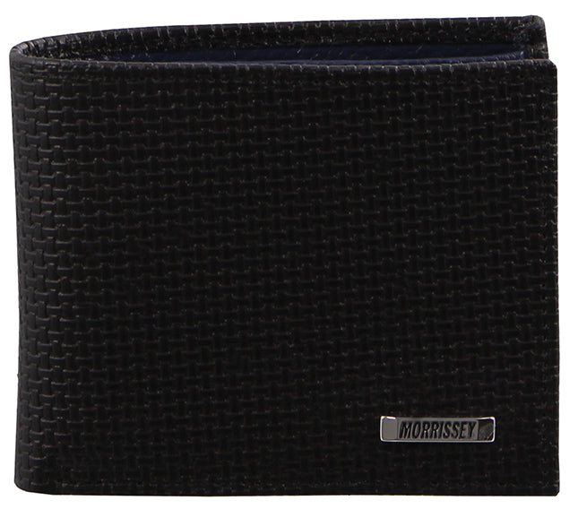 Morrissey Italian Woven Emboss Leather Mens Wallet (MO2608) - Black