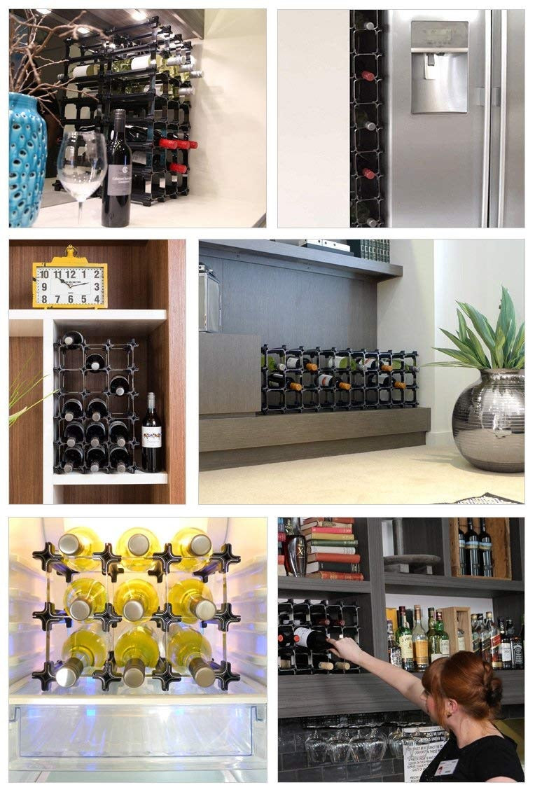 3 Nook Wine Rack  - Modular Wine Storage - Holds 6 Bottles (Black)