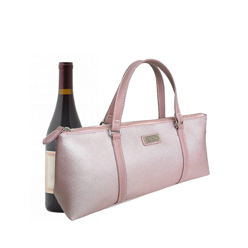 Sachi Insulated Wine Bottle Purse Pink Blush