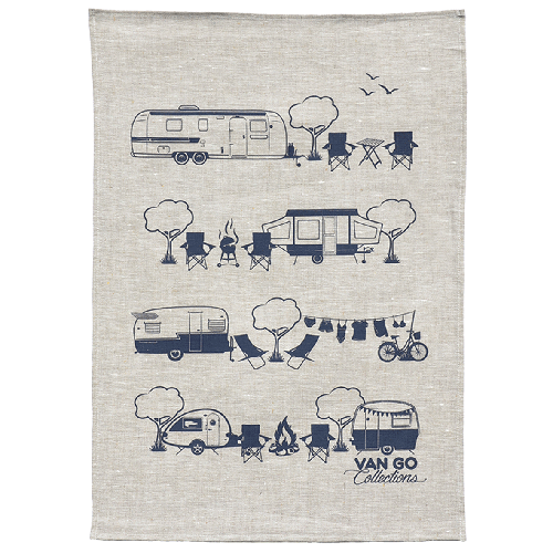 Caravan and Camping Tea Towel by Van Go Collections