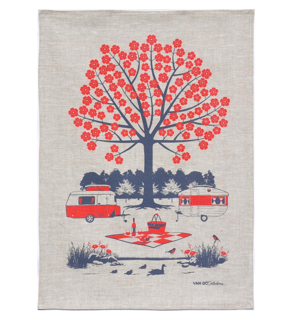 Caravan and Camping Tea Towel (Red) by Van Go Collections