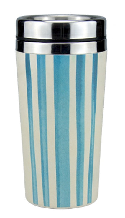 Reusable Insulated Bamboo Coffee Cups 450ml - Watercolour Stripes