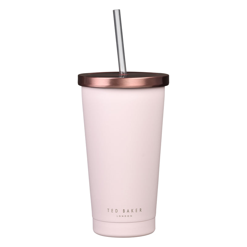 Ted Baker Stainless Steel Pink Tumbler with Straw - 480ml - Ideal for Smoothies