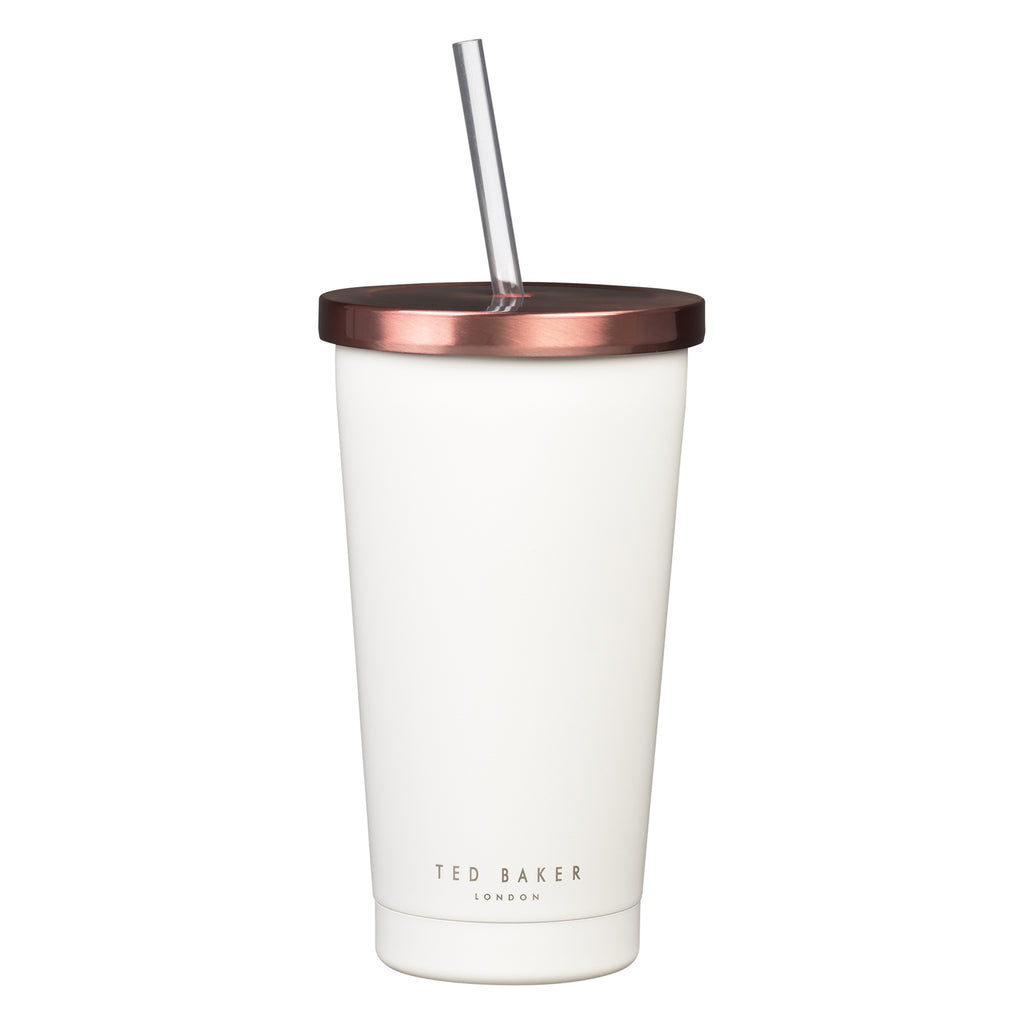Ted Baker Stainless Steel White Tumbler with Straw - 480ml -  Ideal for Smoothies