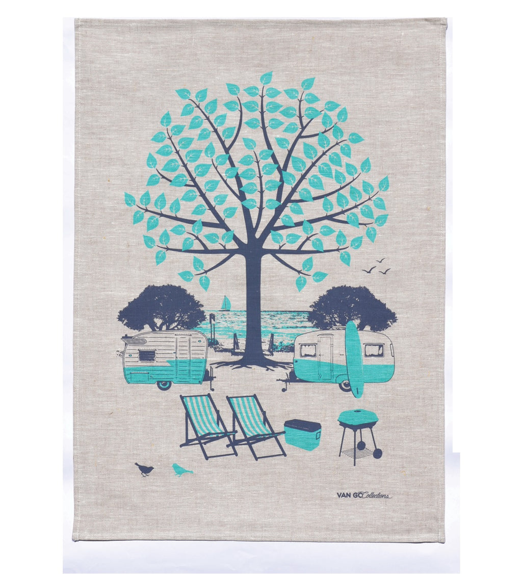 Caravan and Camping Tea Towel (Green)  by Van Go Collections