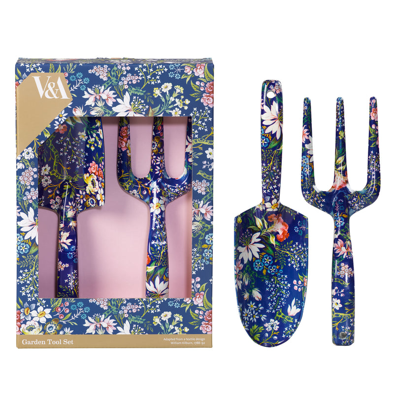 V&A Garden Fork and Trowel Gift Set - Kilburn Blue