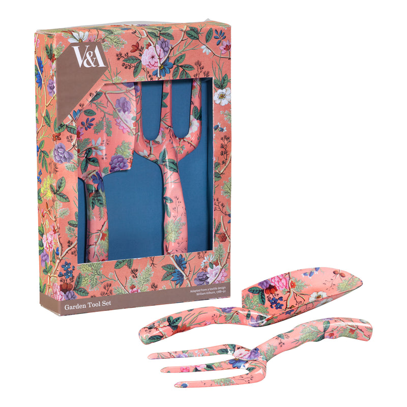 V&A Garden Fork and Trowel Gift Set - Coral