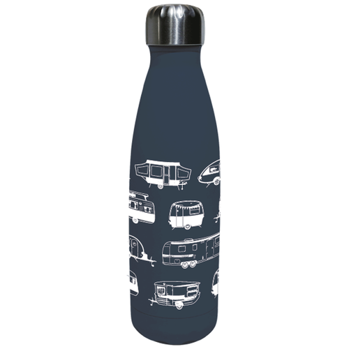 Resusable Caravan Design Insulated Water Bottle - Van Go Collections (Grey)