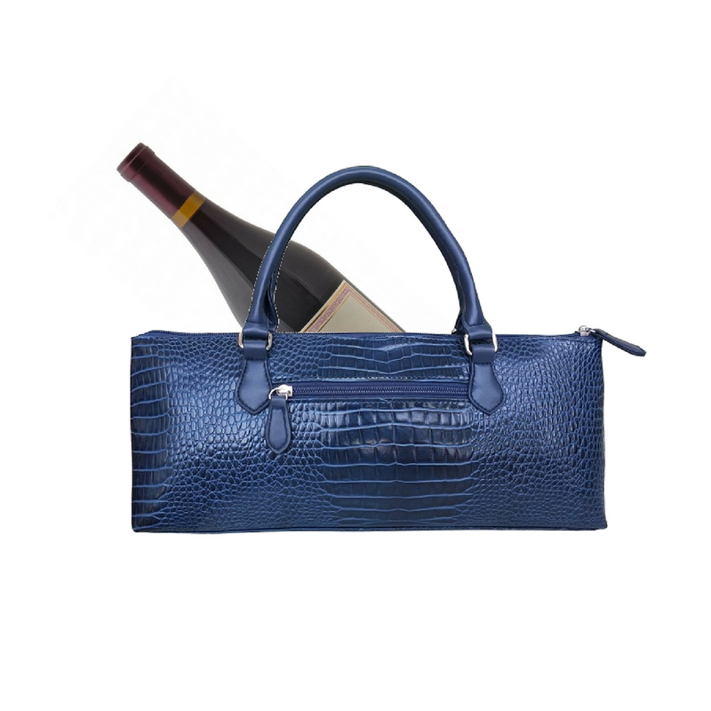 Sachi Insulated Wine Purse Crocodile Navy