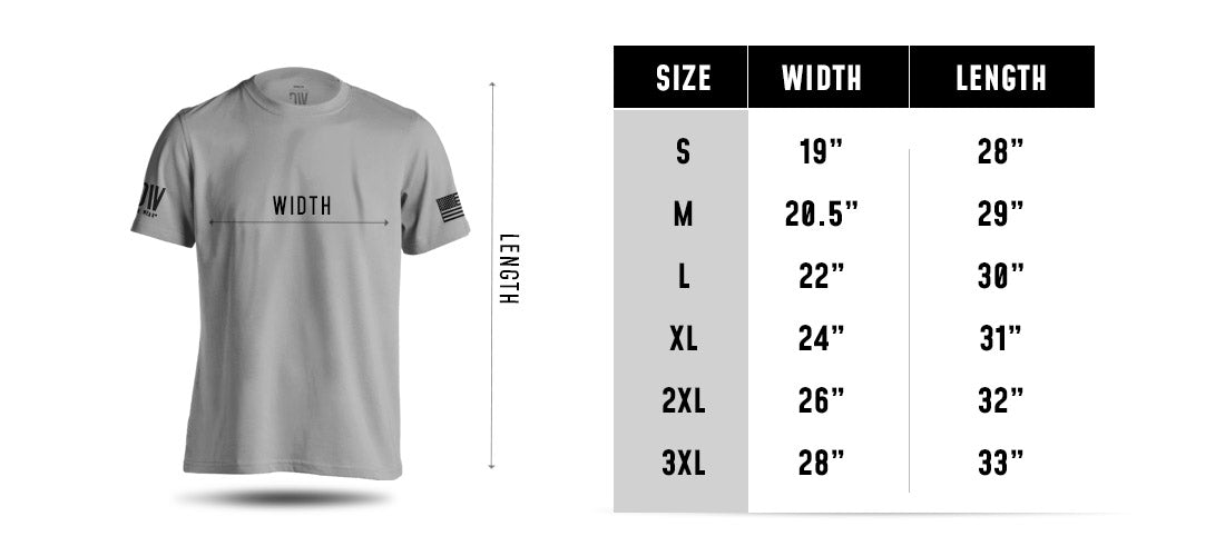 Uncle Sam For God and Country T-shirt Size Chart
