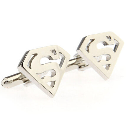 Free shipping Metal Heart Cufflinks Silver color Superman design hotsale copper material cufflinks whoelsale&retail