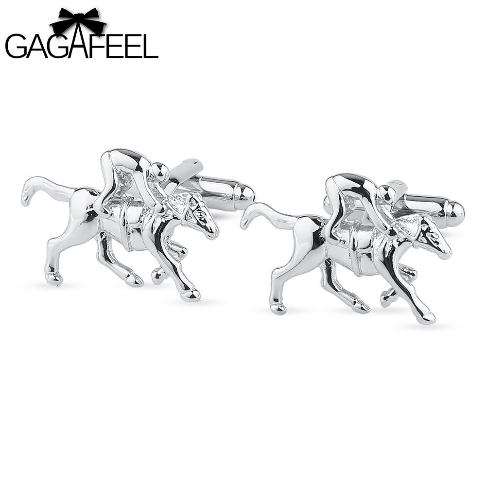GAGAFEEL Cuff Link Bijouterie Men Jewelry CuffLinks Male's Gift Unique Ride Horse Design Fashion Cooper Fit Shirt Sleeve Nail