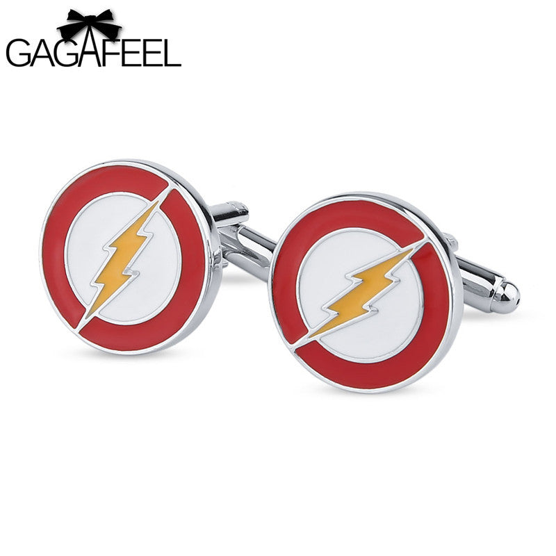 GAGAFEEL Flash Cufflinks Bottons Men Accessories For Superhero Round Design Fashion Jewelry Copper Cuff Links For Boyfriend