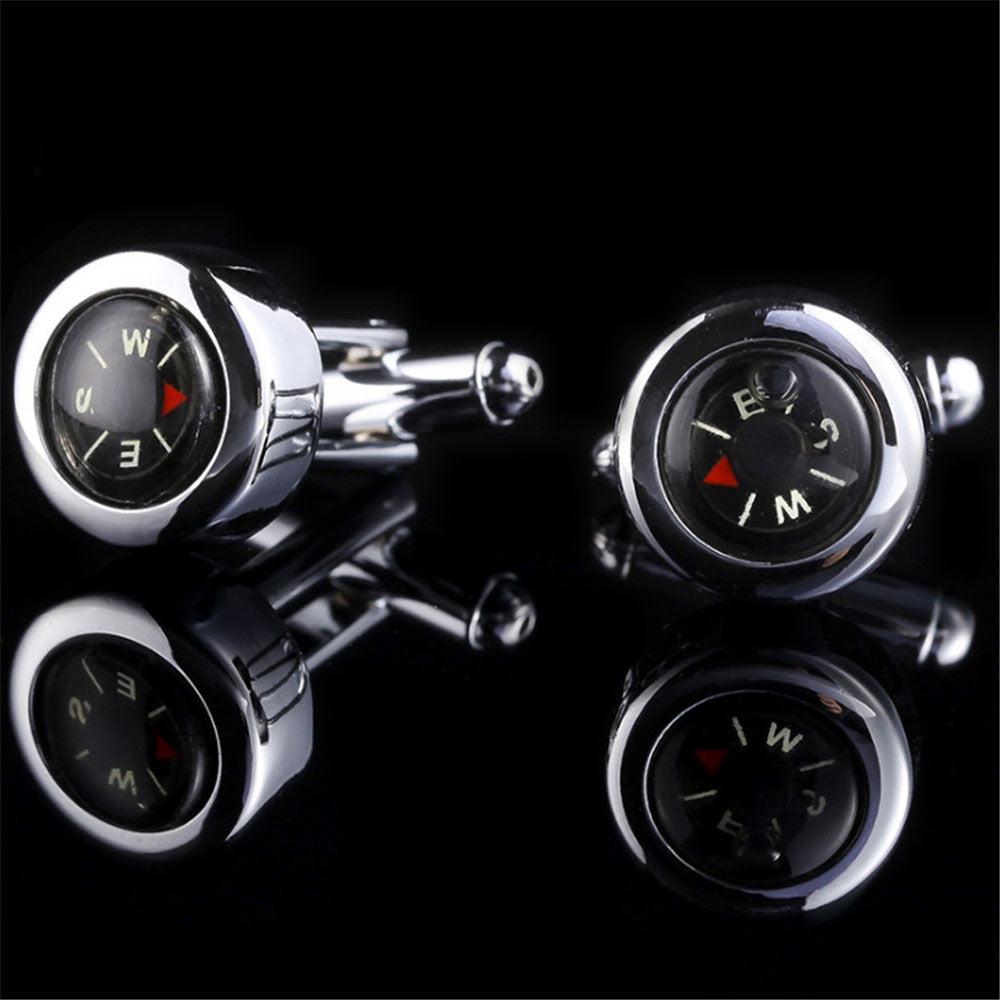 V.YA 2017 High Quality Real Compass Cufflinks Glossy Exquisite Button Fashion Brand Copper Metal Business Cufflinks for Shirts