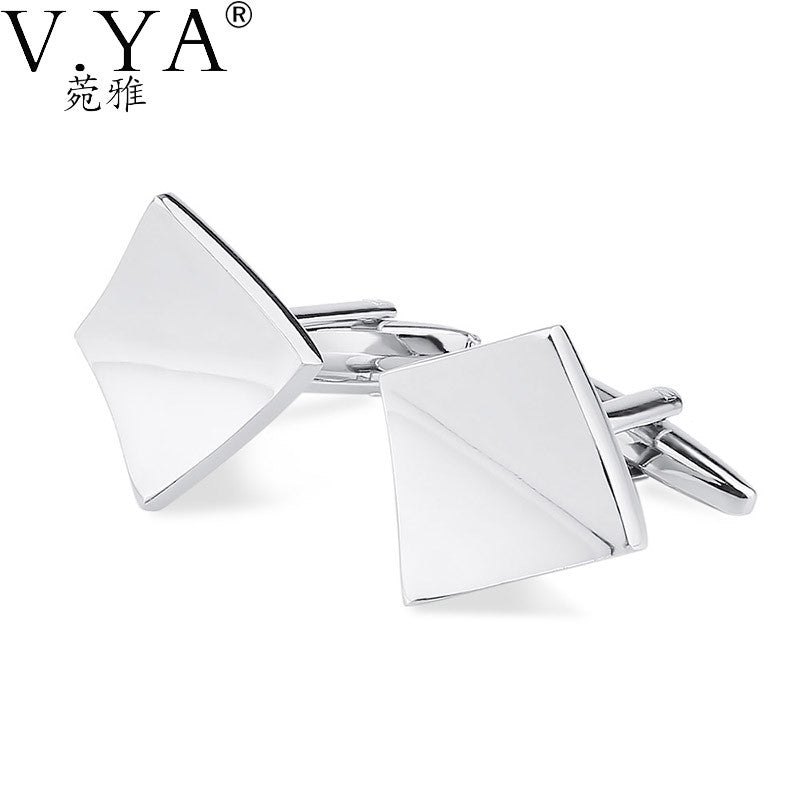 V.Ya Silver Color Square CuffLinks for Shirts Cuff links Exquisite Button High Quality Copper 1 Pair New Fashion Cuff-links XK26
