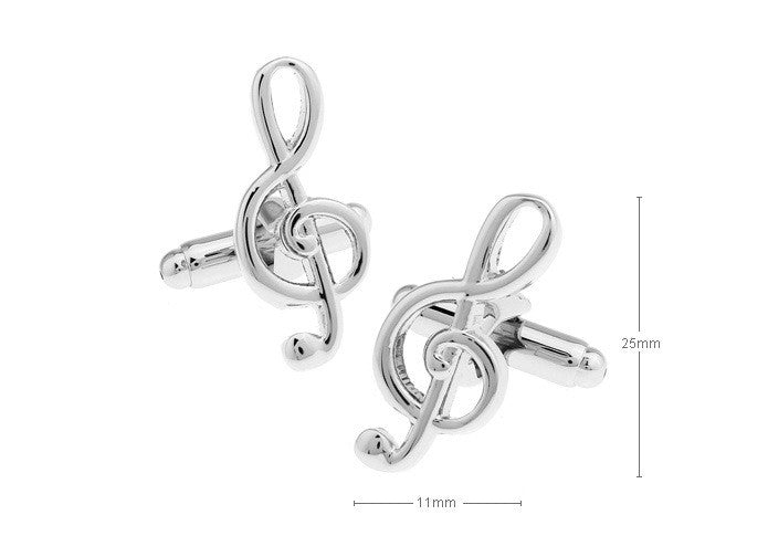 Musical Note Cuff Links for Shirts Cufflinks Glossy Silver Color Metal Pattern Exquisite Button XK05