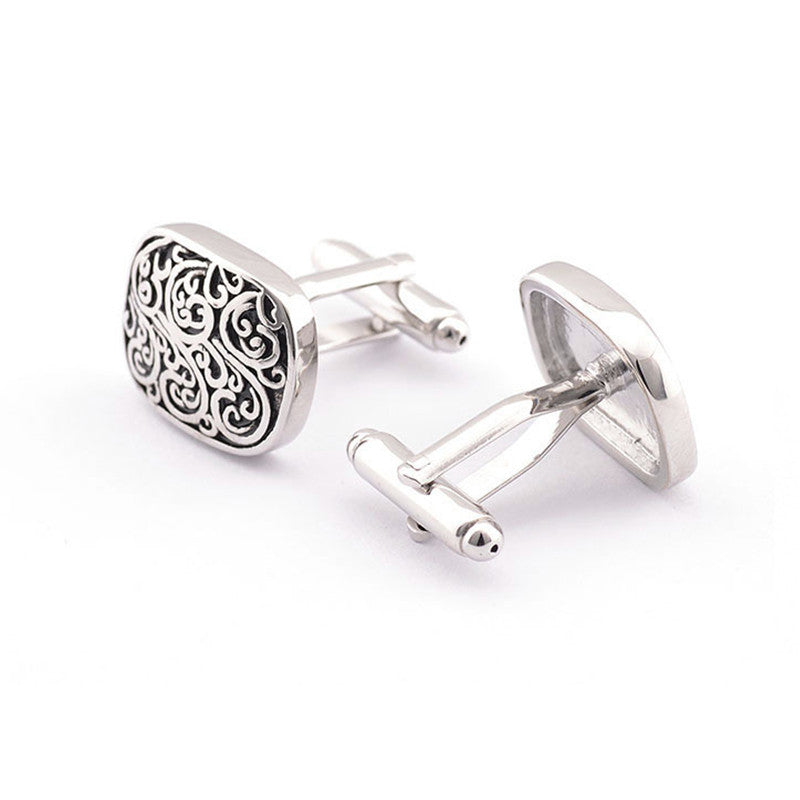 NEW FASHION Retro Pattern Paint Cool Men Cufflinks Glossy Silver Color Metal Pattern Exquisite Button Cuff Links XK03