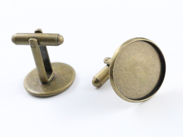 10pcs/ lot 12mm,14mm,16mm,18mm,20mm,25mm Bronze Plated Copper Cufflink Base Cuff Link Settings Cabochon Cameo Base