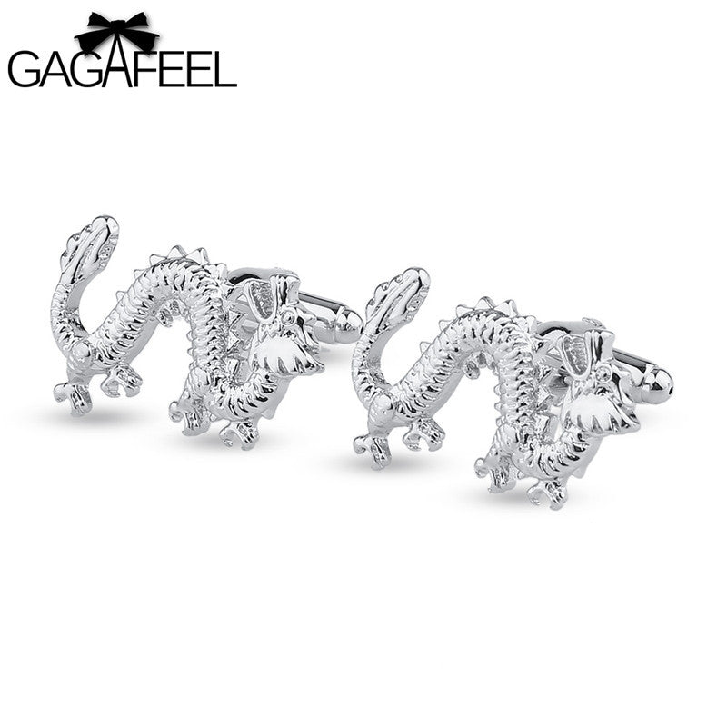 GAGAFEEL Dragon Cufflinks Silver Color Cuff Link Bijouterie For Men Cuff Links Animal Design Cooper Jewelr Shirt Sleeve Nail