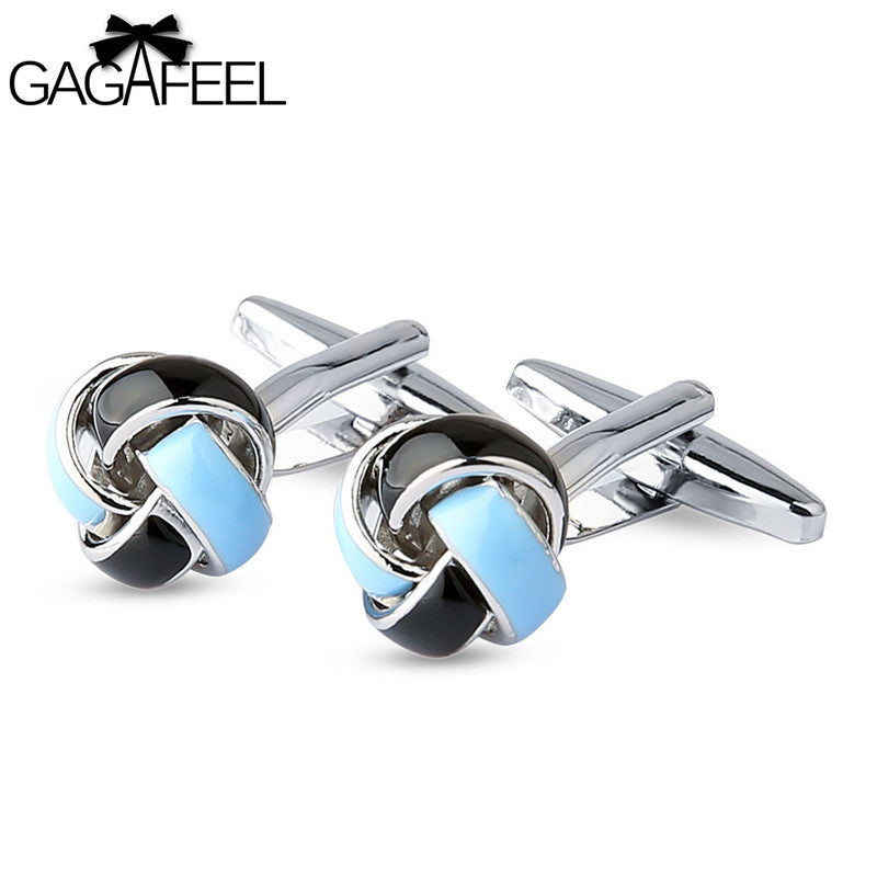 GAGAFEEL Flower Cufflink Men Jewelry Plant Design Cuff Link Fashion Twist Bijoux For Sleeve Cooper Gift Bule And Black Color