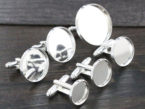 10pcs/ lot 12mm,14mm,16mm,18mm,20mm, Bright Silver Plated Copper Cufflink Base Cuff Link Settings Cabochon Cameo Base